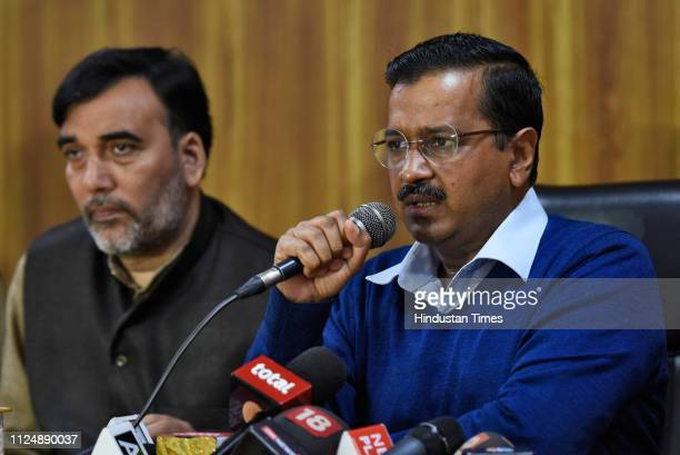 Delhi Chief Minister Arvind Kejriwal with Development Minister Gopal Rai during a press conference after the Supreme Court delivered its judgment on...