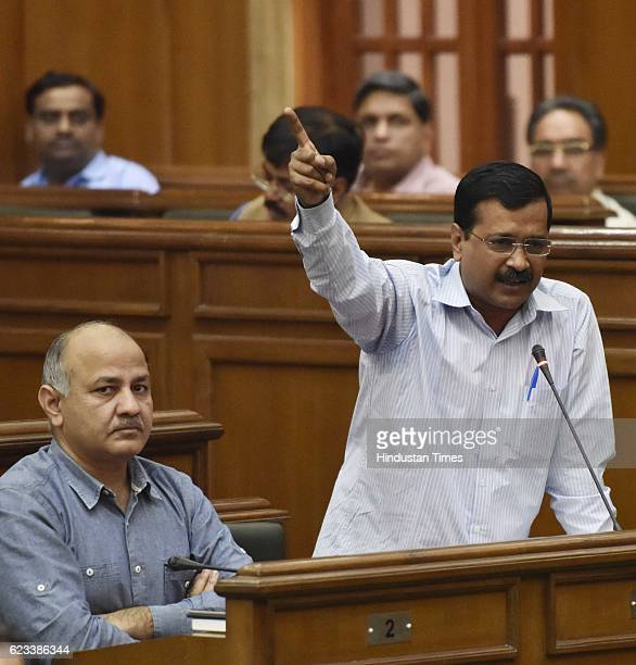 Delhi Chief Minister Arvind Kejriwal with his Deputy Manish Sisodia during the special session of Vidhan Sabha on black money issue on November 15...
