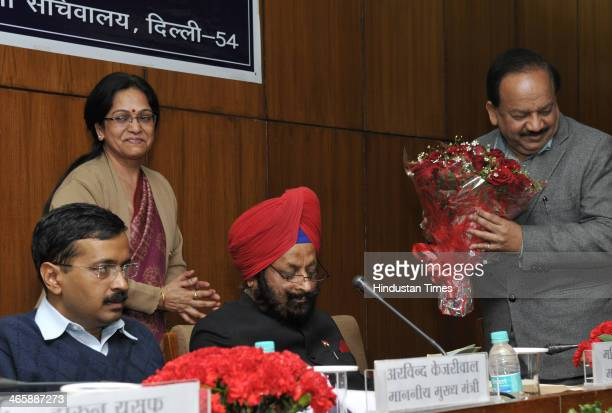 Delhi Chief Minister Arvind Kejriwal with Speaker of Delhi Assembly MS Dhir and BJP leader Harsh Vardhan during orientation programme for newly...