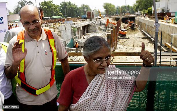 Delhi chief minister Sheila Dikshit and DMRC Managing Director Mangu Singh visit the Mandi House metro site on May 25 2012 in New Delhi India The 937...