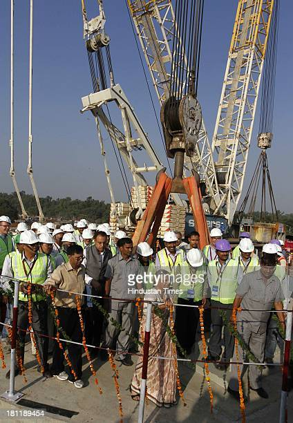Delhi Chief Minister Sheila Dikshit before the commencement of the erection of the central pylon of the Signature Bridge at Wazirabad on September 19...