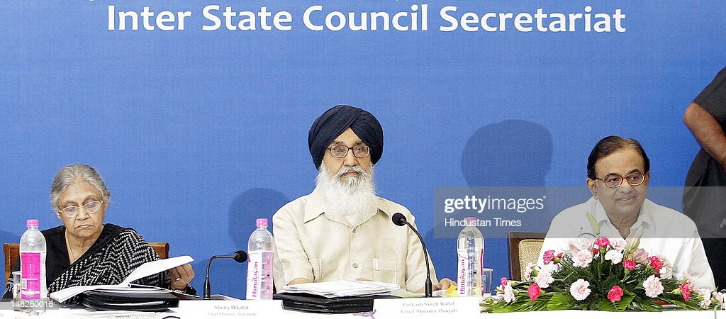 Delhi Chief Minister Sheila Dikshit CM Punjab Parkash Singh Badal Union Minister of Home Affairs P Chidambaram attend the 26th meeting of Northern...