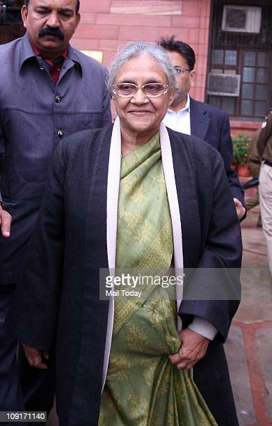 Delhi Chief Minister Sheila Dikshit coming out after meeting Union Home Minister P Chidambaram on Tuesday