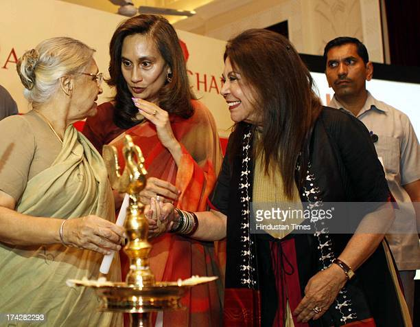 Delhi Chief Minister Sheila Dikshit Hindustan Times Chairperson and Editorial Director Shobhana Bhartia and fashion designer Ritu Kumar during the...