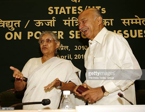 Delhi Chief Minister Sheila Dikshit in conversation with Union Minister for Power Sushil Kr Shinde at Power Ministers conference in New Delhi on...