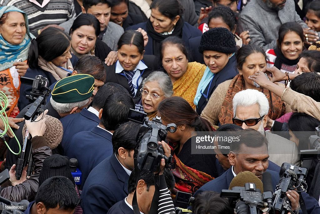 Delhi Chief Minister Shiela Dikshit attend a prayer ceremony for a rape victim after a rally, protesting for justice and security for women at Raj Ghat on January 2, 2013 in New Delhi, India. Dikshit flagged off the 'Mahila Suraksha Samman March' from Bal Bhavan to Rajghat which was participated by over a thousand women.