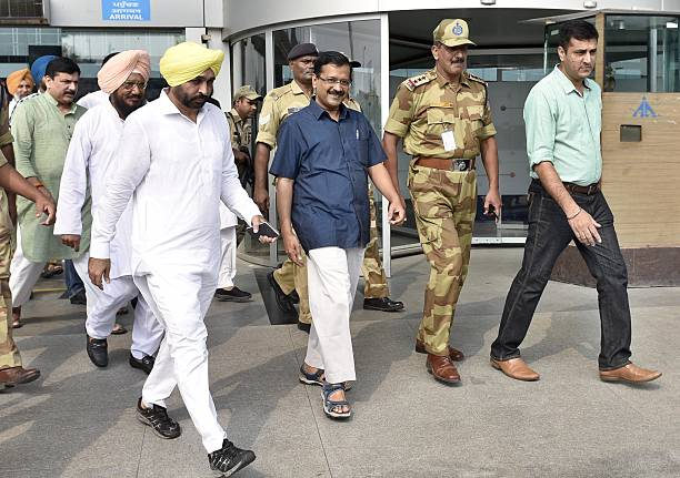 Delhi CM and AAP National Convener Arvind Kejriwal along with Bhagwant Mann and AAP leaders from Punjab coming out from the Amritsar International...
