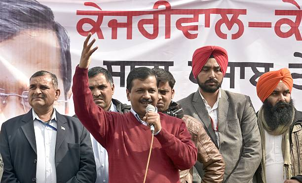 Delhi CM Arvind Kejriwal addresses during an election rally at Naag Kalan village in Majitha constituency on January 29 2017 in Amritsar India...
