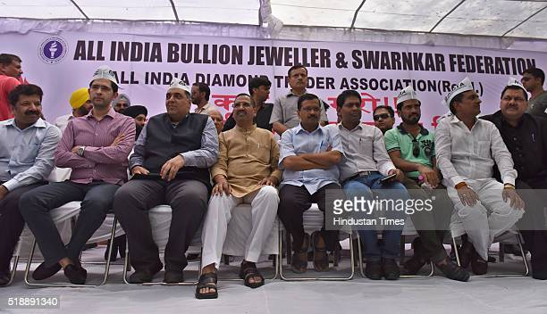 Delhi CM Arvind Kejriwal joins the ongoing protest of Jewellers as they are protesting against the excise duty imposed by Union Finance Ministry on...