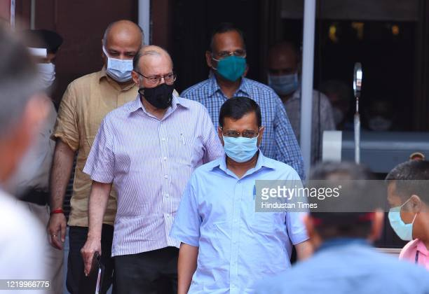 Delhi CM Arvind Kejriwal, Lt Governor Anil Baijal, Dy CM Manish Sisodia and Health Minister Satyendar Jain leave North Block after attending a...