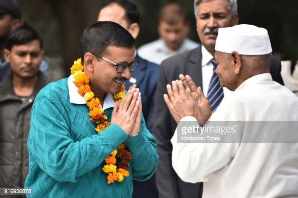 Delhi CM Arvind Kejriwal meeting with people during Janta Darbar on Aam Aadmi Party's completion of 3 years in Delhi Government, at R K Ashram, on...