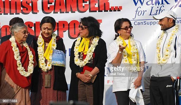 Delhi CM Sheila Dikshit Gursharan Kaur wife of PM Manmohan Singh CPM leader Brinda Karat Sharmila Tagore and Rahul Boseat the participants at the...