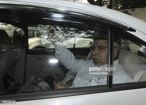 Delhi Commissioner of Police Bhim Sain Bassi leaves from Raj Niwas after meeting Delhi Lt Governor Najeeb Jung over Security issues on October 20...