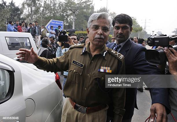 Delhi Commissioner of Police BS Bassi after meeting with the Delhi Chief Minister Arvind Kejriwal on his first day after taking oath a Delhi CM as...