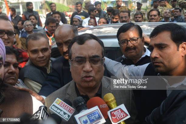 Delhi Congress President Ajay Maken during a protest demanding the resignation of Delhi Chief Minister Arvind Kejriwal on corruption charges and the...