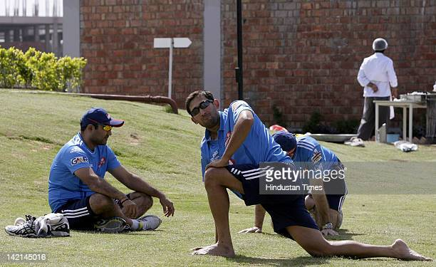 Delhi Daredevil fast bowler Ajit Agarkar during a practice session at Sehwag International School ground in Jhajjar Haryana on March 29 2012 situated...