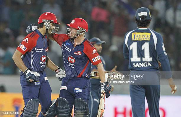Delhi Daredevil player David Warner and Naman Ojha celebrate their victory in IPL T20 match played between Deccan Chargers and Delhi Daredevils at...