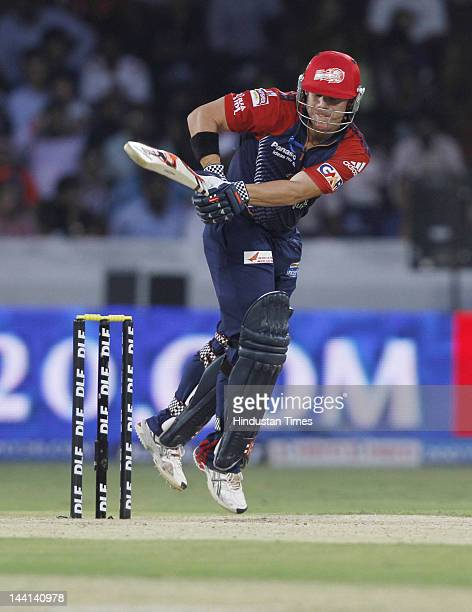 Delhi Daredevil player David Warner plays a shot during IPL T20 match played between Deccan Chargers and Delhi Daredevils at the Gandhi International...