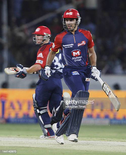 Delhi Daredevil players David Warner and Naman Ojha taking run during IPL T20 match played between Deccan Chargers and Delhi Daredevils at the Gandhi...