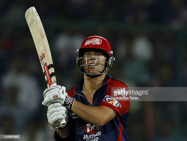 Delhi Daredevils batsman David Warner during the IPL 5 T20 cricket match played between two teams at Ferozshah Kotla ground on May 7 2012 in New...