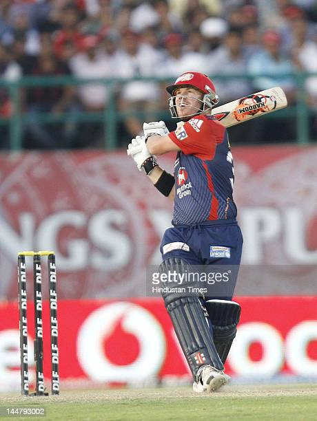 Delhi Daredevils batsman David Warner plays a shot during IPL 5 T20 cricket match played between Delhi Daredevils and Kings XI Punjab at HPCA stadium...