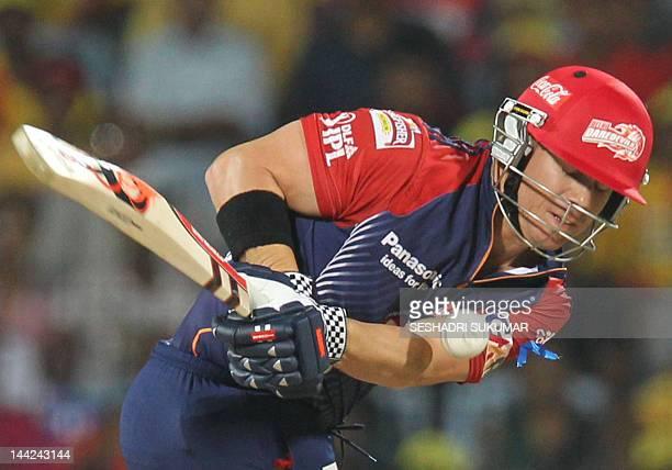 Delhi Daredevils batsman David Warner plays a shot during the IPL Twenty20 cricket match between Chennai Super Kings and Delhi Daredevils at The MA...