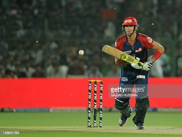 Delhi Daredevils batsman Kevin Pieterson plays a shot during the IPL Twenty20 cricket match between Rajashtan Royals and Delhi Daredevils at The...