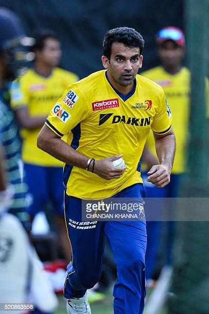 Delhi Daredevils captain and leftarm fastmedium bowler Zaheer Khan bowls during a practice session at Feroz Shah Kotla cricket ground in New Delhi on...