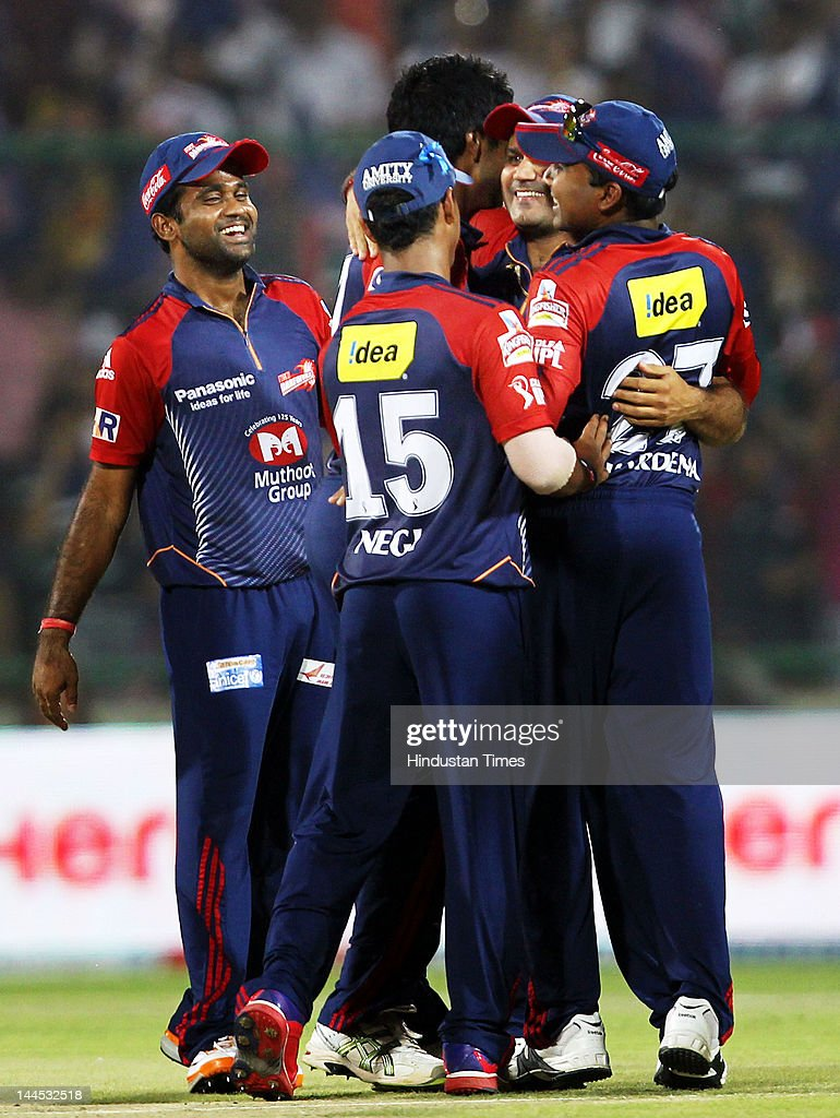 Delhi Daredevils Captain Virendra Sehwag celebrates the dismissal of Punjab Kings XI Mandeep Singh during the IPL cricket match between Delhi Daredevils and Punjab Kings XI, at Ferozshah Kotla Ground on May 15, 2012 in New Delhi, India.