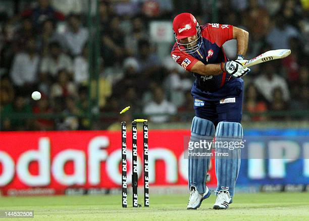 Delhi Daredevils Captain Virendra Sehwag is bold out by Kings XI Punjab bowler Parvinder Awana during the IPL cricket match between Delhi Daredevils...