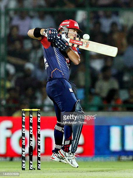 Delhi Daredevils David Warner plays a shot during the IPL cricket match between Delhi Daredevils and Kings XI Punjab at Ferozshah Kotla Ground on May...