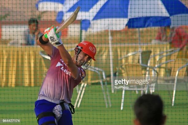 Delhi Daredevils team captain Gautam Gambhir during the practice session ahead the Indian Premier League IPL2018 T20 cricket match against Rajasthan...