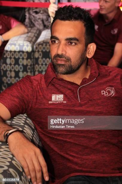 Delhi Daredevils team captain Zaheer Khan enjoying a party on March 31 2017 in New Delhi India
