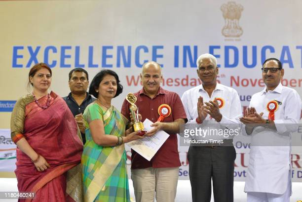 Delhi Deputy Chief Minister and Education Minister Manish Sisodia felicitates schools of the government of Delhi, during the Excellence in Education...