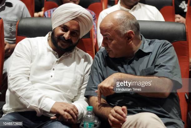 Delhi Dy Chief Minister Manish Sisodia with MLA of Tilak Nagar, Jarnail Singh, during the inauguration of an Auditorium at Dilli Haat, Janakpuri on...