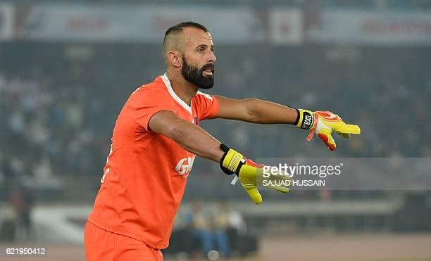 Delhi Dynamos FC goalkeeper Antonio Baltasar Doblas Santana reacts during the Indian Super League football match between Delhi Dynamos FC and...