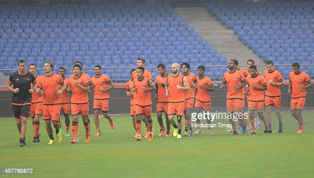 Delhi Dynamos FC team during a practice session at Nehru Stadium on October 24 2014 in New Delhi India