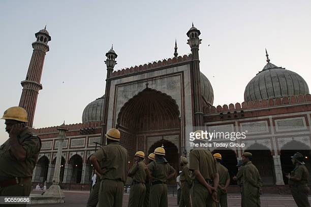 Delhi Fire Service personnels inside Jama Masjid after the twin blast inside the mosque on Friday evening April 14 New Delhi