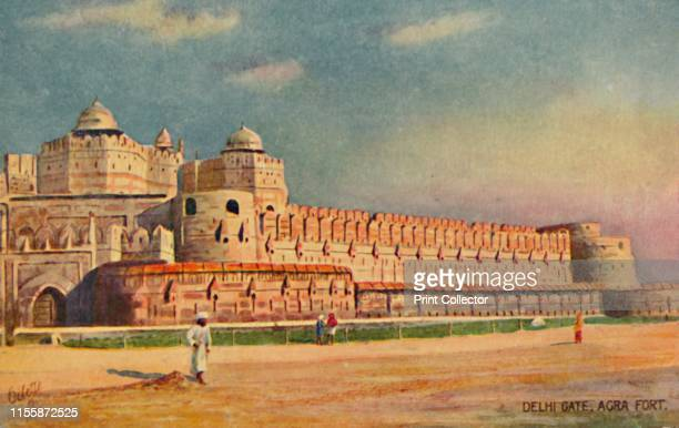 "Delhi Gate, Agra Fort'. The Mughal fort at Agra, in Uttar Pradesh, India. From ""The Wide-Wide-World Series - Agra. Series II"". [Raphael Tuck & Sons,..."