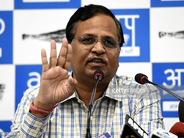 Delhi Health Minister Satyendra Jain addresses a press conference after appearing before Income Tax Officials at Aayakar Seva Kendra at ITO on...