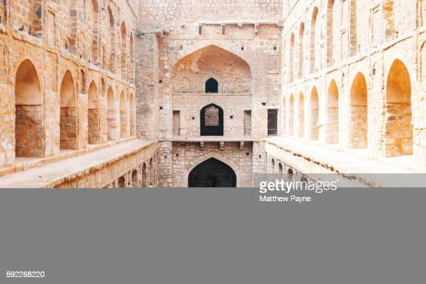 delhi, india: agrasen ki baoli, view of traditional stepwell - stepwell stock photos and pictures