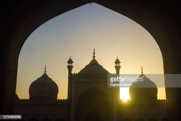 delhi jama masjid during sunset