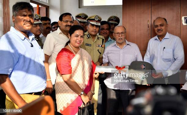 Delhi Lieutenant Governor Anil Baijal Delhi Police Commissioner Amulya Patnaik and Lok Sabha MP Meenakashi Lekhi during an inauguration ceremony of...