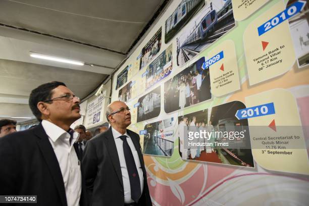 Delhi Metro Rail Corporation managing director Mangu Singh along with other DMRC officials during the inauguration of an exhibition on the occasion...