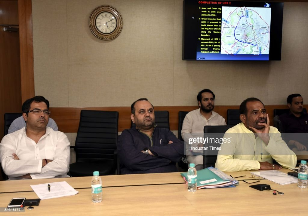 Delhi MPs Parvesh Verma, Mahesh Girri, Ramesh Bidhuri attend the meeting along with Irrigation/Environment Ministers of Haryana and UP, on decongestion of Delhi & issues relating to Yamuna projects at Transport Bhawan, on September 13, 2017 in New Delhi, India.