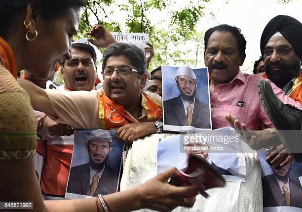 Delhi Pardesh Shiv Sena members protesting against Islamic Preacher Zakir Naik at Jantar Mantar on July 9 2016 in New Delhi India The Islamic...