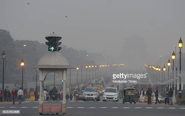 Delhi Police and CRPF security personnel alert at Raisina Hill after authorities received a bomb threat after the fresh firing and bomb explosion...