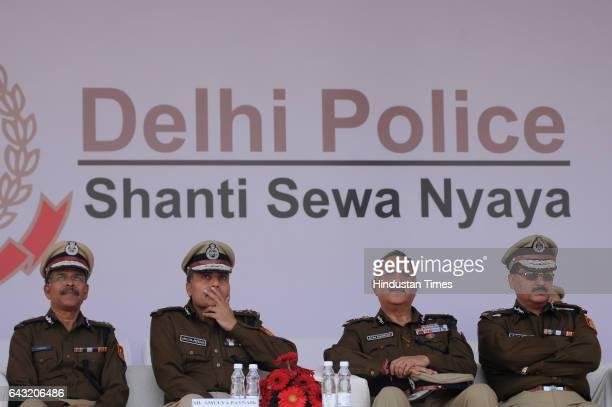 Delhi Police Commissioner Amulya Patnaik during selfdefence training titled 'Aarohi' organised at the Khatu Shyam Stadium to commemorate Police Week...