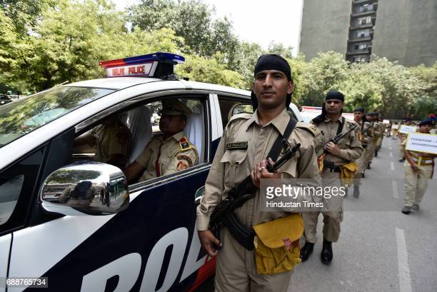Delhi Police commissioner Amulya Patnaik launched 'Parakram' Commando vans for 10 different places in the city to counter terrorism activities on May...