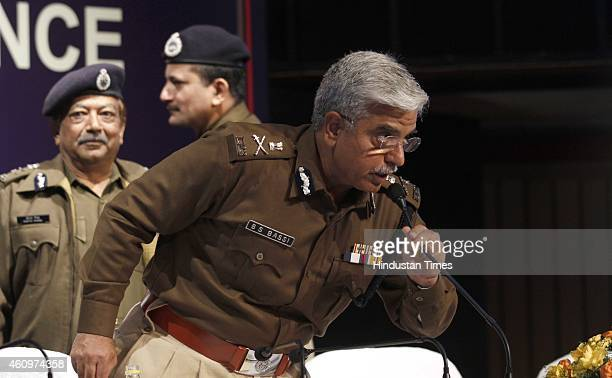 Delhi police commissioner Bhim Sain Bassi with Special Commissioner Of Police Law And Order Deepak Mishra Special Commissioner Taj Hassan and Special...